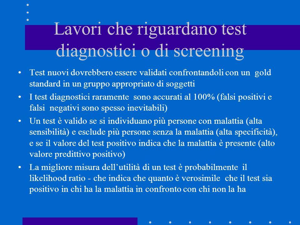 Lavori che riguardano test diagnostici o di screening