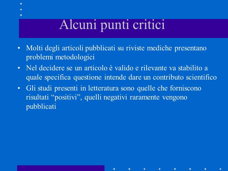 Alcuni punti critici Molti degli articoli pubblicati su riviste mediche presentano problemi metodologici.