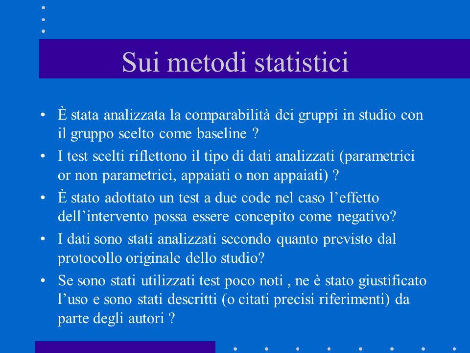 Sui metodi statistici È stata analizzata la comparabilità dei gruppi in studio con il gruppo scelto come baseline