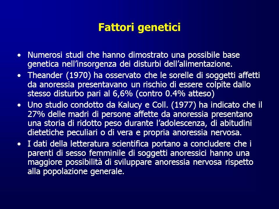 Fattori genetici Numerosi studi che hanno dimostrato una possibile base genetica nell'insorgenza dei disturbi dell'alimentazione.