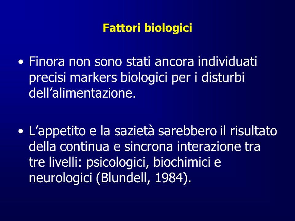 Fattori biologici Finora non sono stati ancora individuati precisi markers biologici per i disturbi dell'alimentazione.