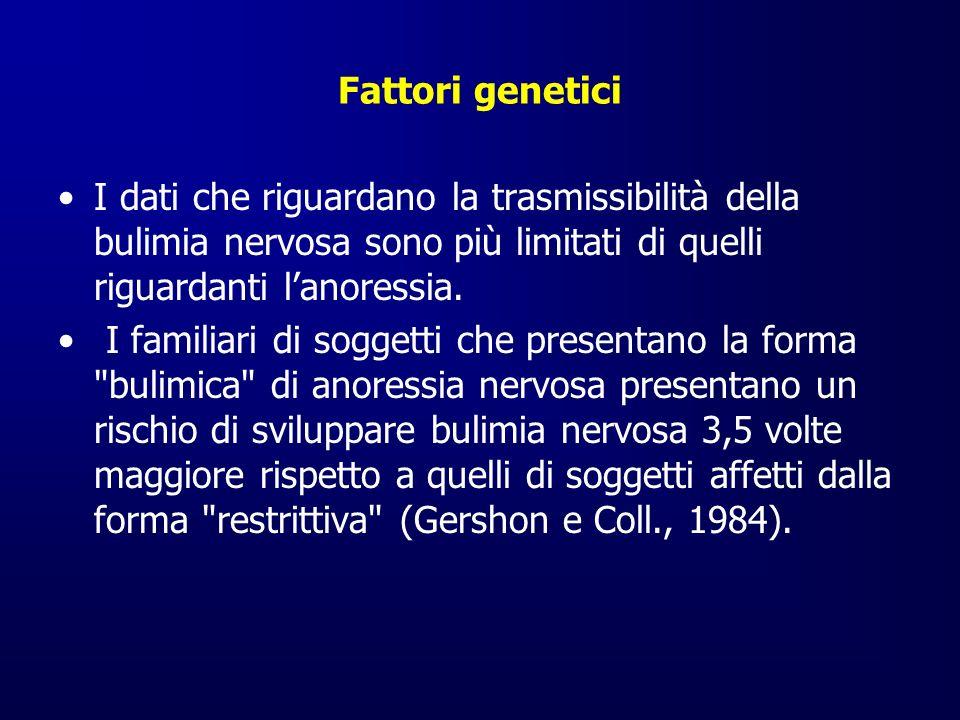 Fattori genetici I dati che riguardano la trasmissibilità della bulimia nervosa sono più limitati di quelli riguardanti l'anoressia.