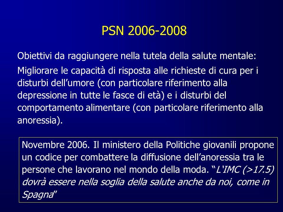 PSN 2006-2008 Obiettivi da raggiungere nella tutela della salute mentale: