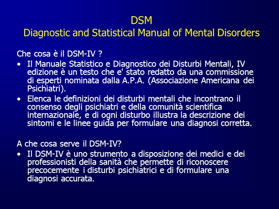 DSM Diagnostic and Statistical Manual of Mental Disorders