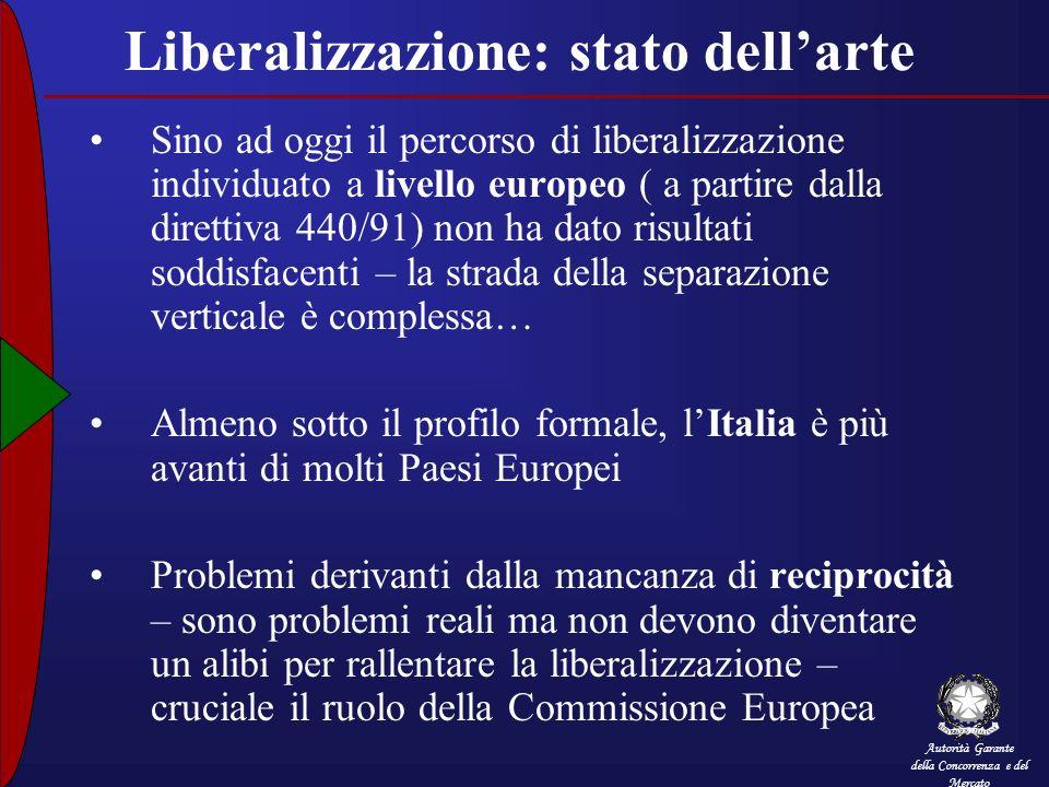 Liberalizzazione: stato dell'arte