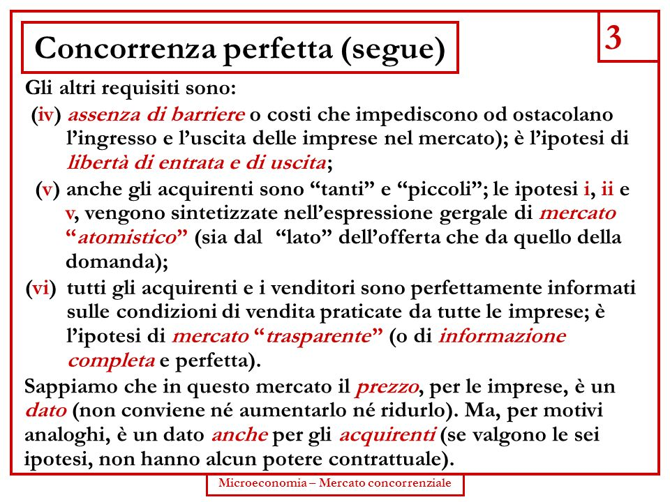 Concorrenza perfetta (segue)