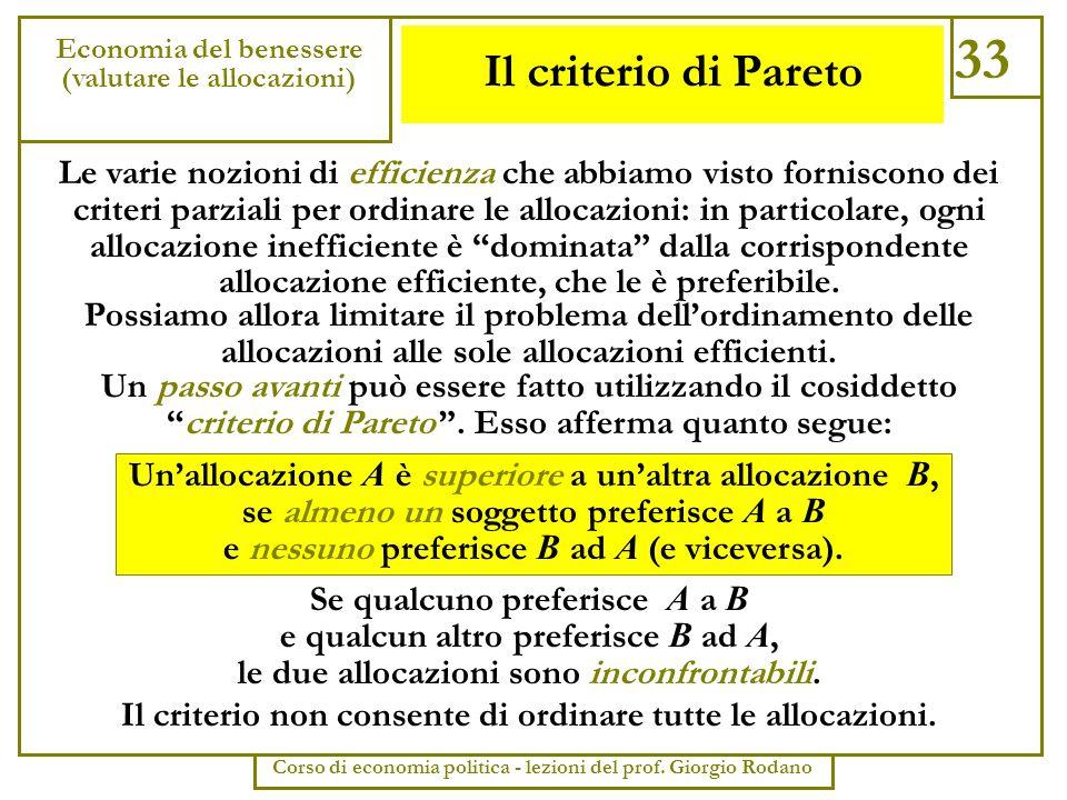 33 Economia del benessere. (valutare le allocazioni) Corso di economia politica - lezioni del prof. Giorgio Rodano.