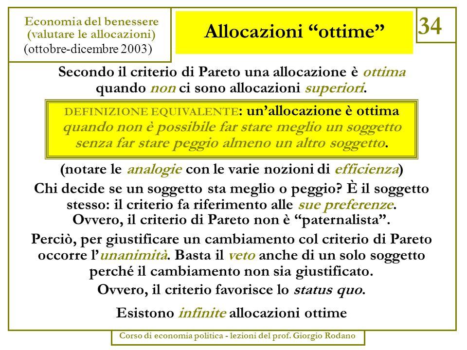 34 Economia del benessere. (valutare le allocazioni) (ottobre-dicembre 2003) Corso di economia politica - lezioni del prof. Giorgio Rodano.