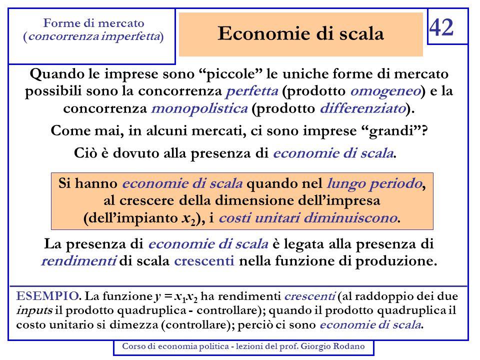 42 Forme di mercato. (concorrenza imperfetta) Corso di economia politica - lezioni del prof. Giorgio Rodano.