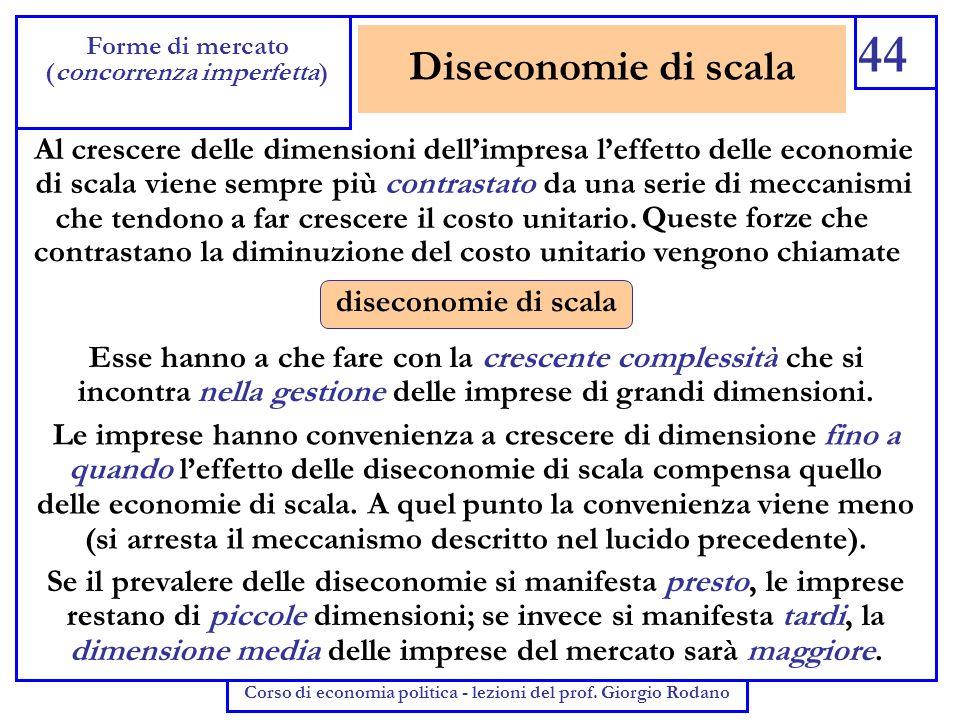 44 Forme di mercato. (concorrenza imperfetta) Corso di economia politica - lezioni del prof. Giorgio Rodano.