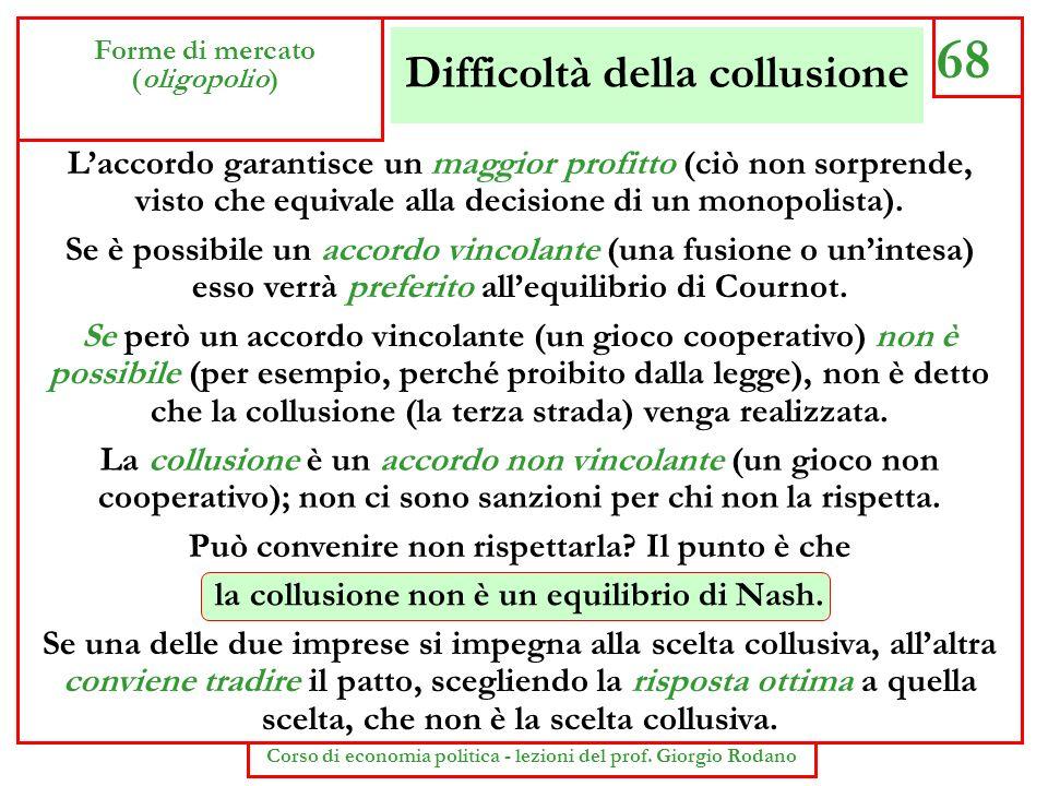 Difficoltà della collusione