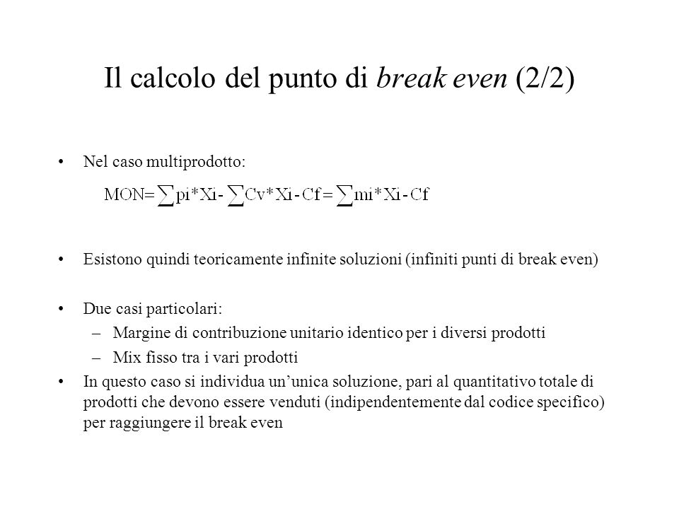 Il calcolo del punto di break even (2/2)