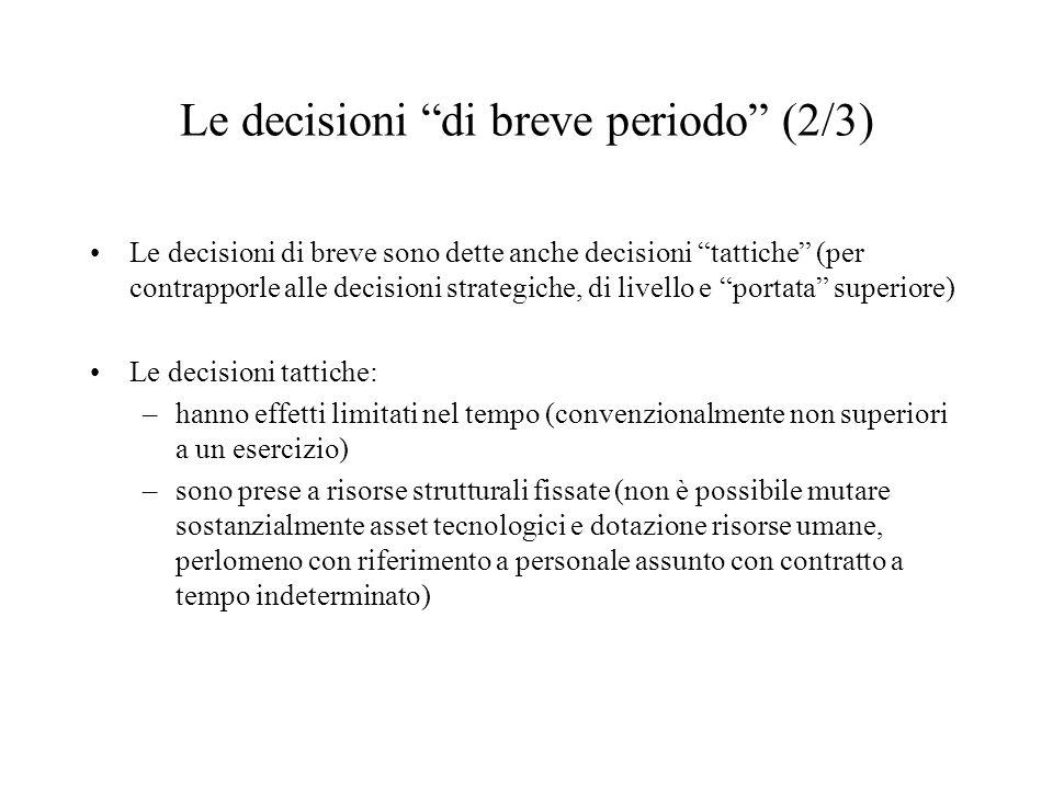 Le decisioni di breve periodo (2/3)