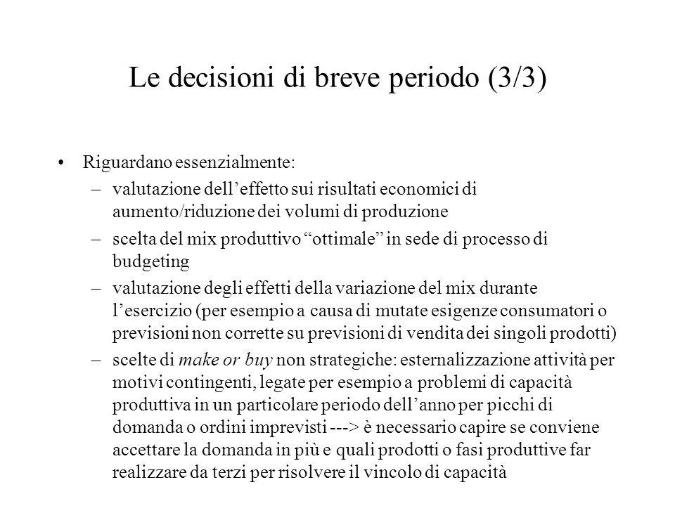 Le decisioni di breve periodo (3/3)