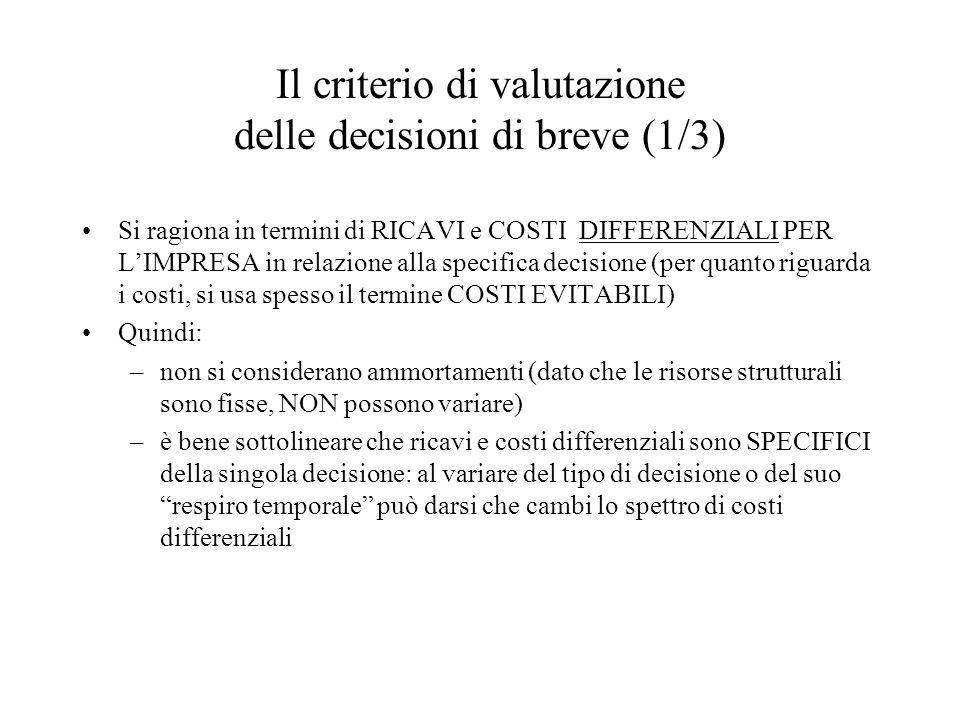 Il criterio di valutazione delle decisioni di breve (1/3)