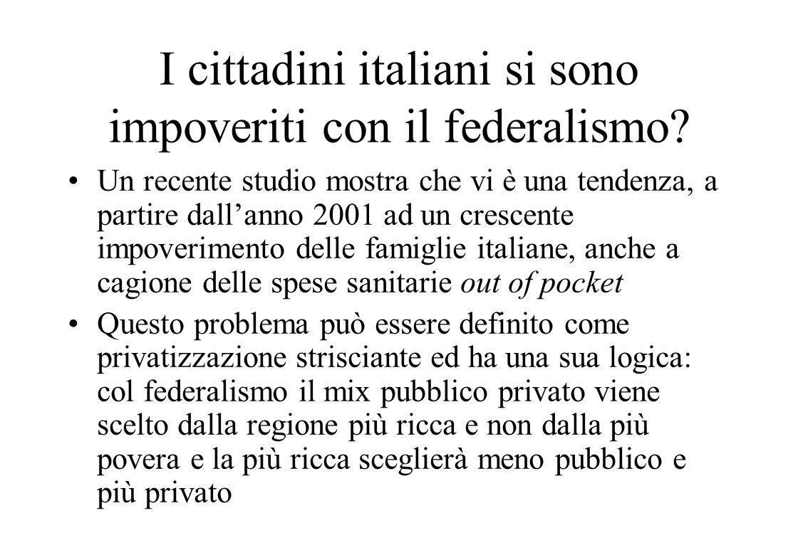 I cittadini italiani si sono impoveriti con il federalismo