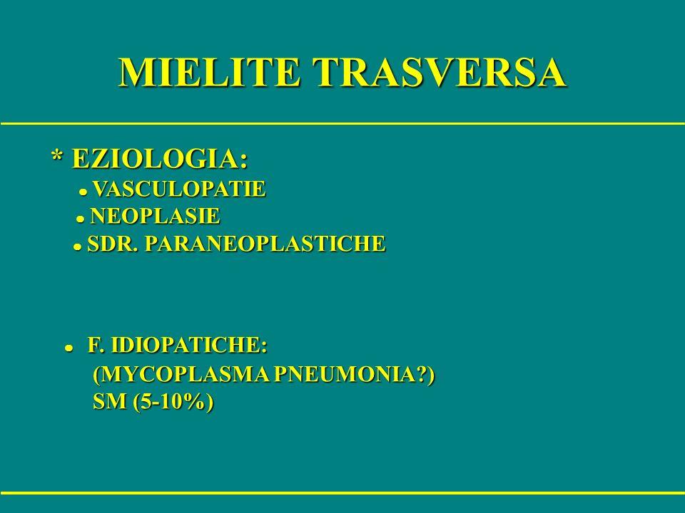 MIELITE TRASVERSA * EZIOLOGIA: l F. IDIOPATICHE: l NEOPLASIE