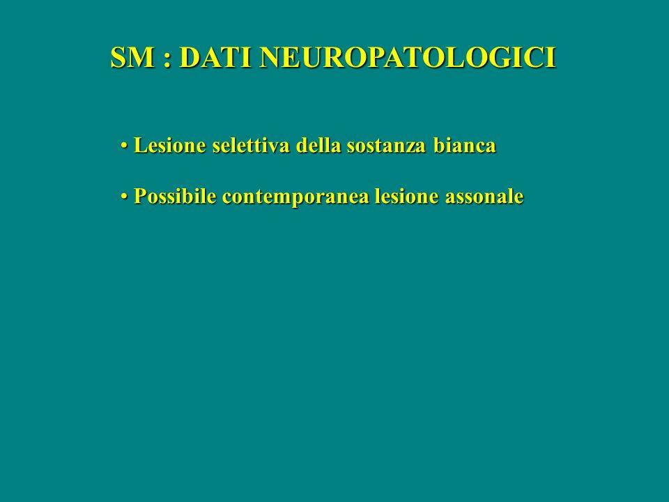 SM : DATI NEUROPATOLOGICI