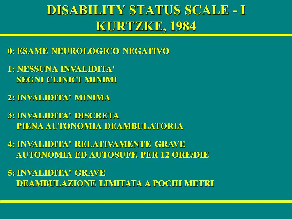 DISABILITY STATUS SCALE - I KURTZKE, 1984