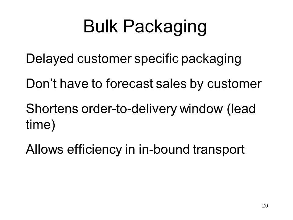 Bulk Packaging Delayed customer specific packaging
