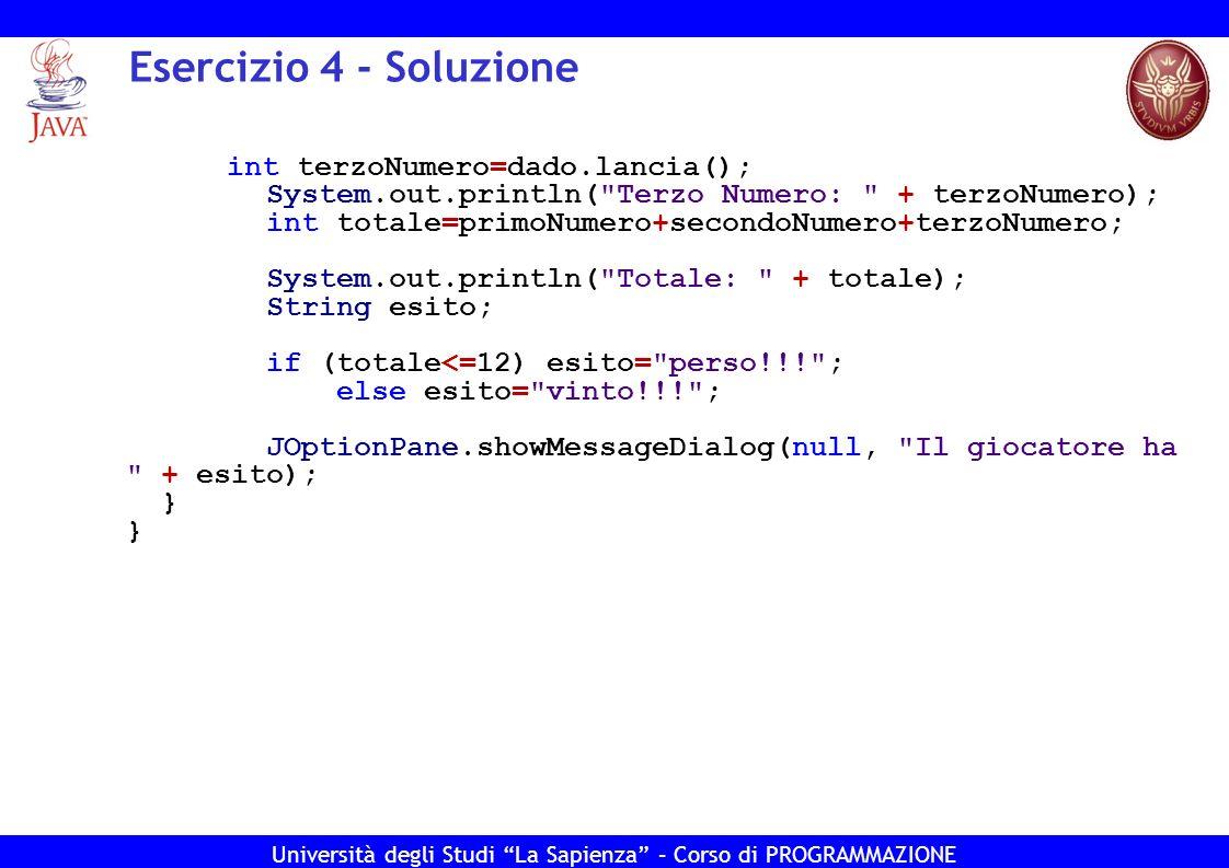Esercizio 4 - Soluzione