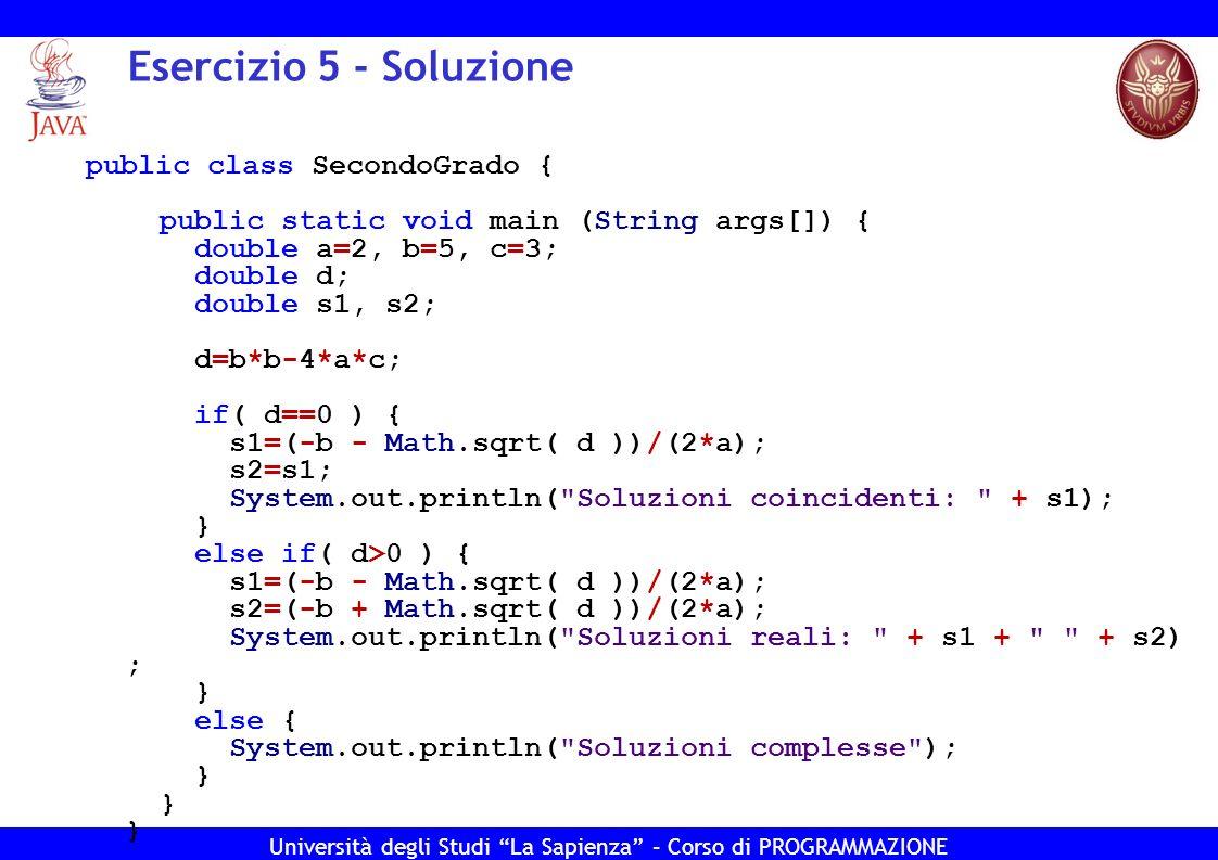 Esercizio 5 - Soluzione