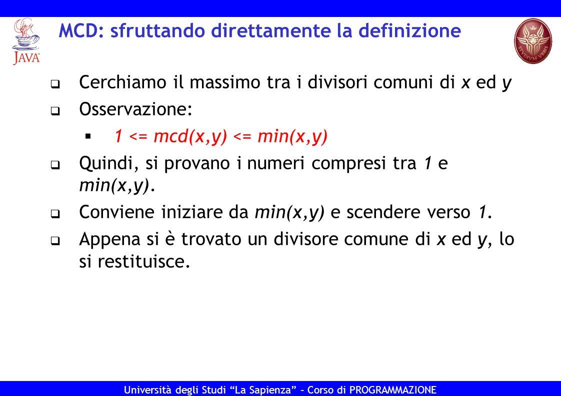 MCD: sfruttando direttamente la definizione