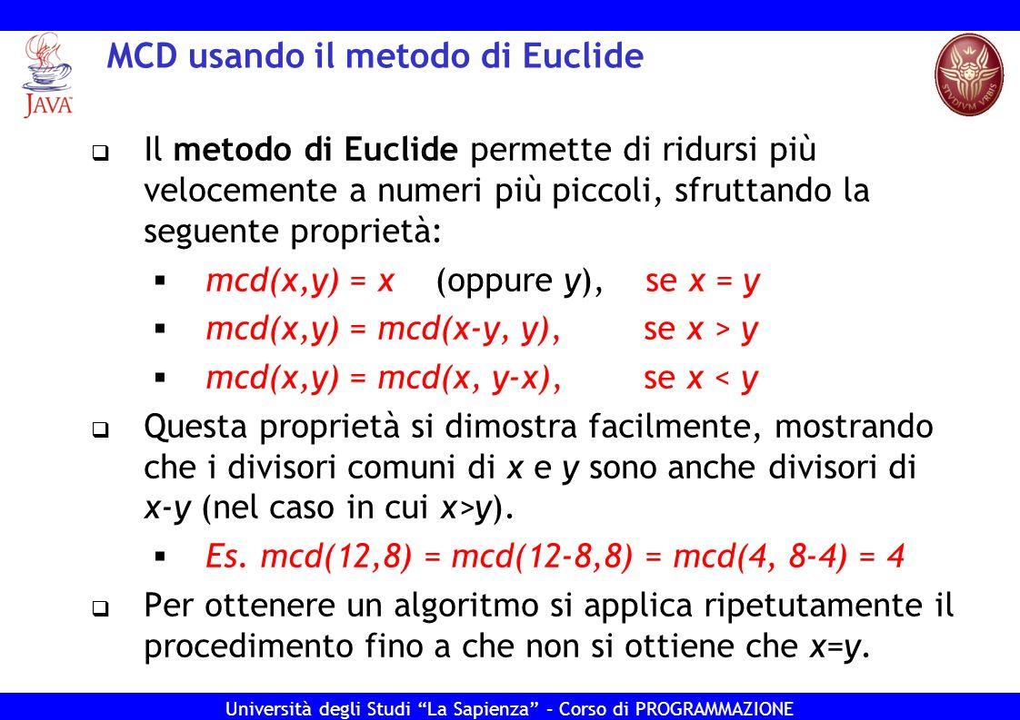 MCD usando il metodo di Euclide