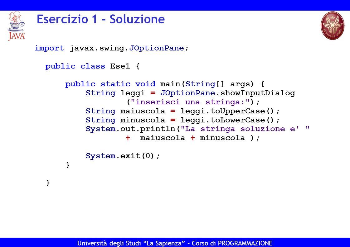 Esercizio 1 - Soluzione