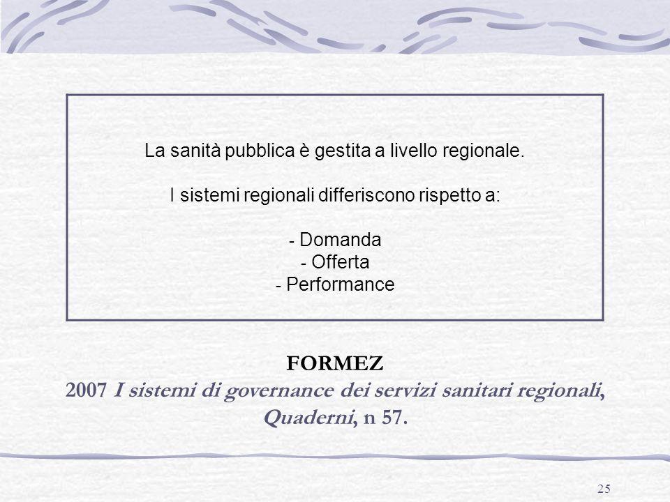 La sanità pubblica è gestita a livello regionale. I sistemi regionali differiscono rispetto a: Domanda.
