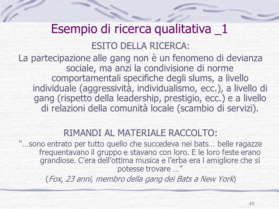 Esempio di ricerca qualitativa _1