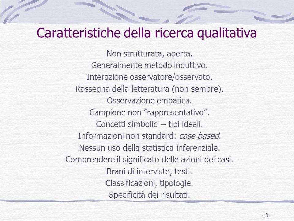 Caratteristiche della ricerca qualitativa
