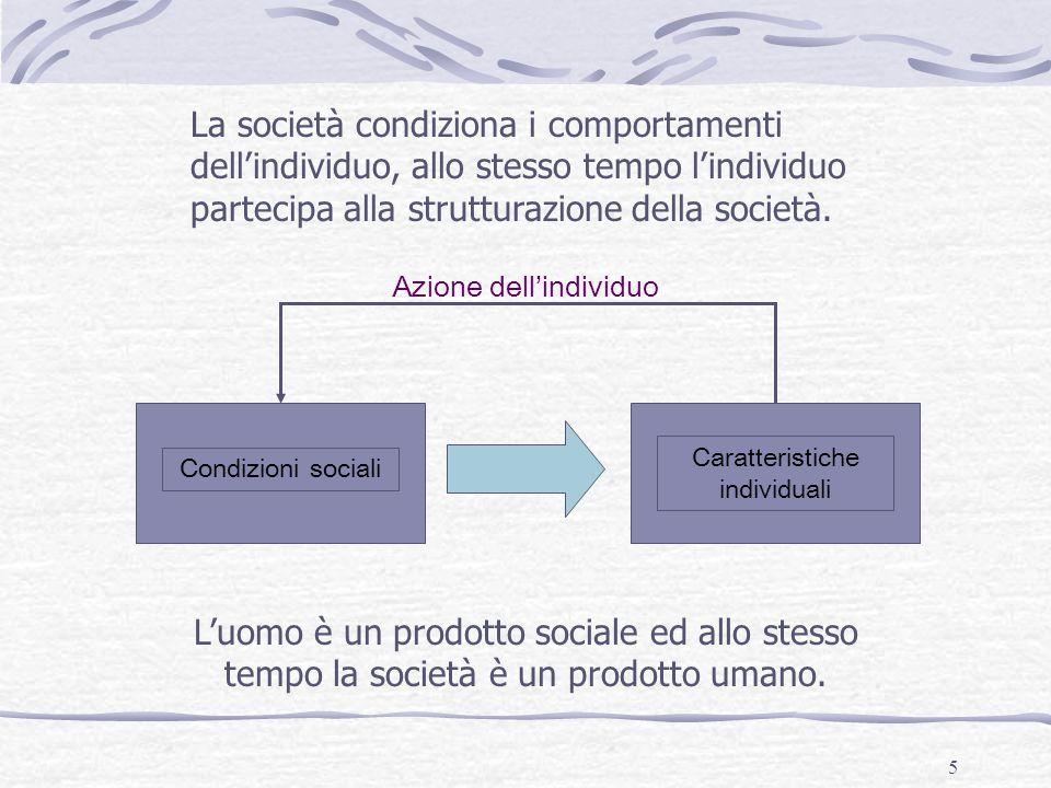 La società condiziona i comportamenti dell'individuo, allo stesso tempo l'individuo partecipa alla strutturazione della società.