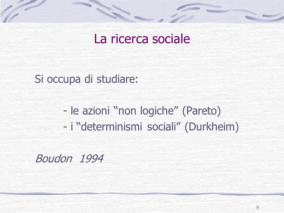 La ricerca sociale Si occupa di studiare: