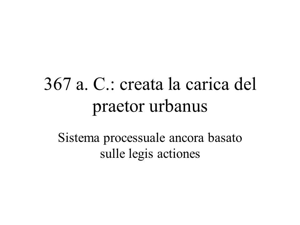 367 a. C.: creata la carica del praetor urbanus