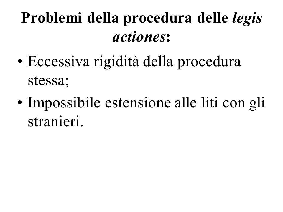 Problemi della procedura delle legis actiones: