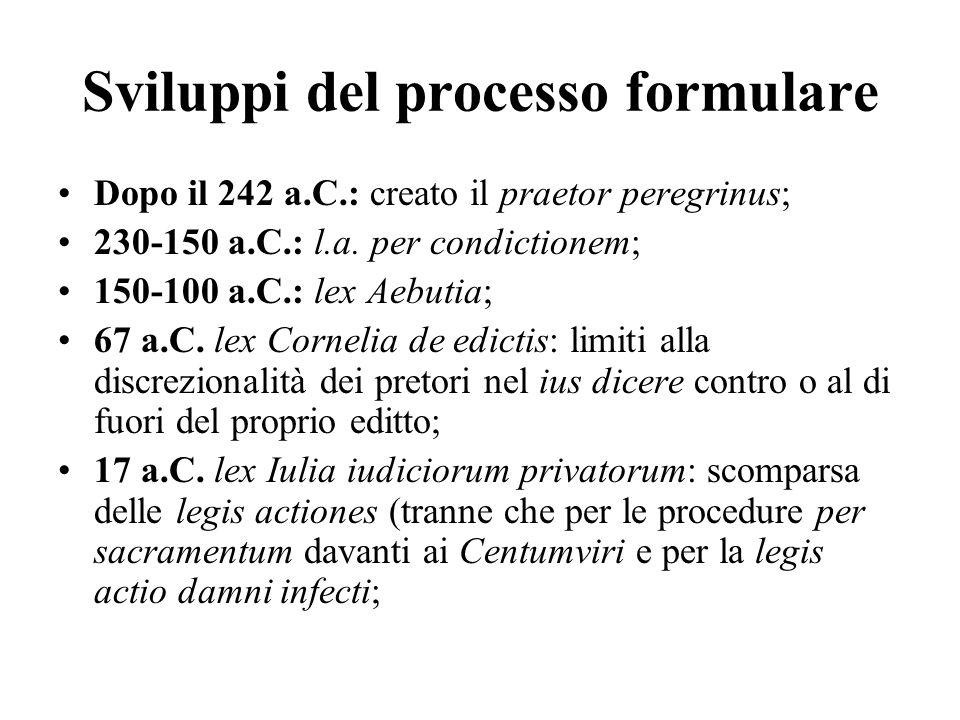 Sviluppi del processo formulare