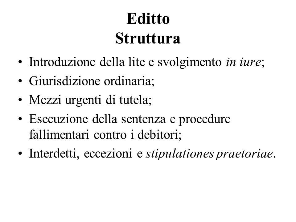 Editto Struttura Introduzione della lite e svolgimento in iure;
