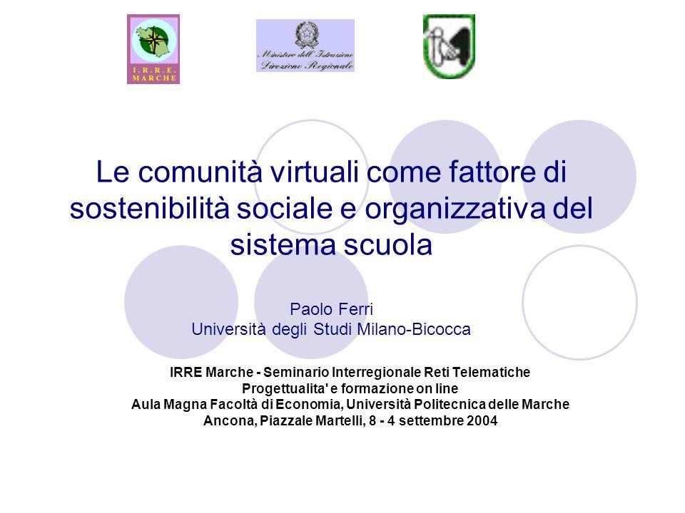 Le comunità virtuali come fattore di sostenibilità sociale e organizzativa del sistema scuola Paolo Ferri Università degli Studi Milano-Bicocca