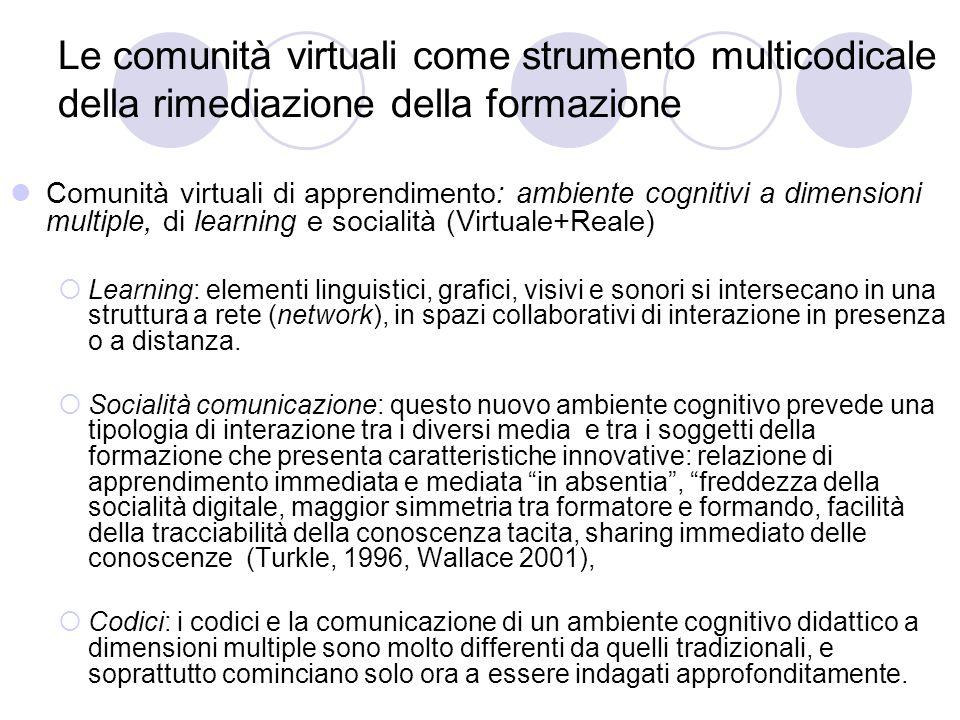 Le comunità virtuali come strumento multicodicale della rimediazione della formazione