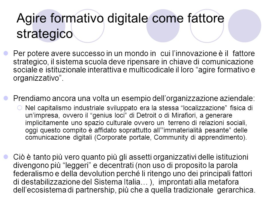 Agire formativo digitale come fattore strategico
