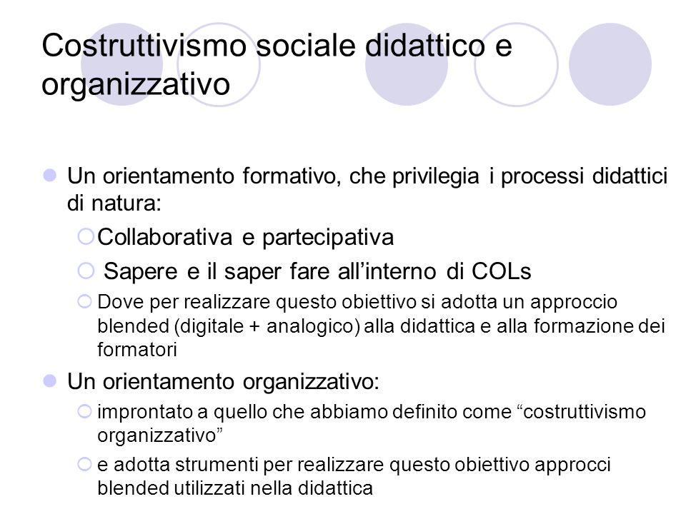 Costruttivismo sociale didattico e organizzativo