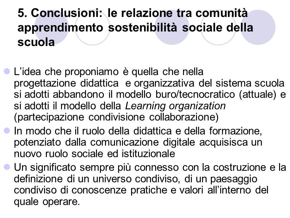 5. Conclusioni: le relazione tra comunità apprendimento sostenibilità sociale della scuola