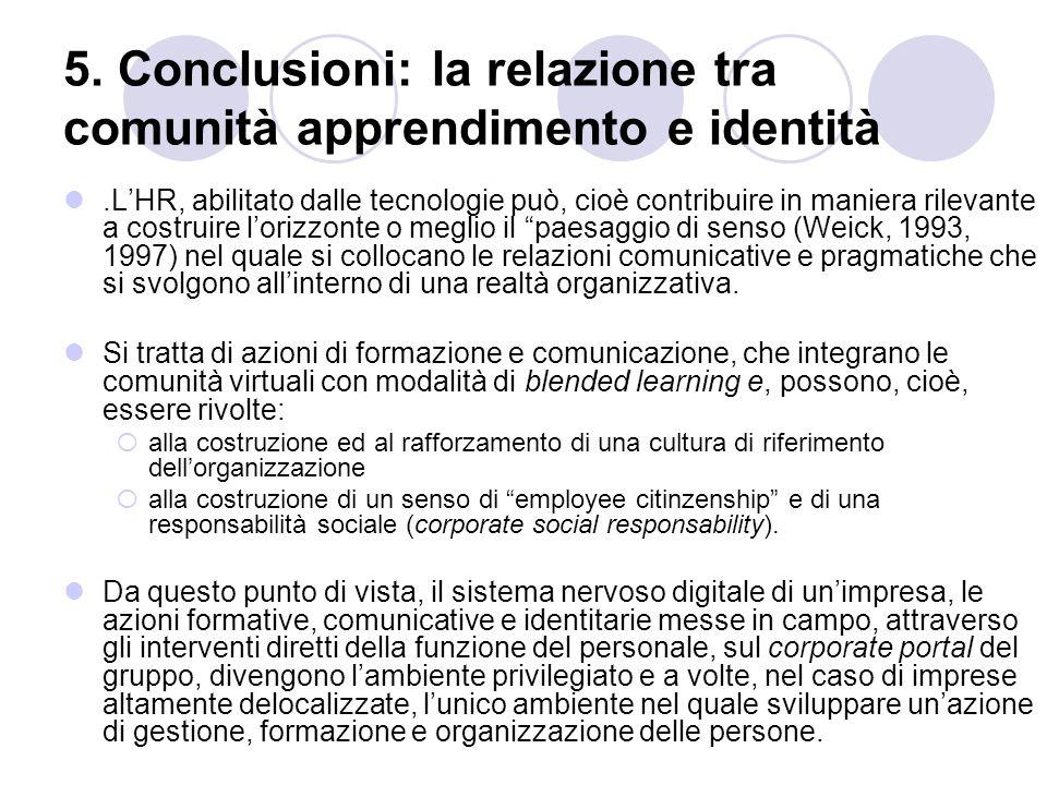 5. Conclusioni: la relazione tra comunità apprendimento e identità