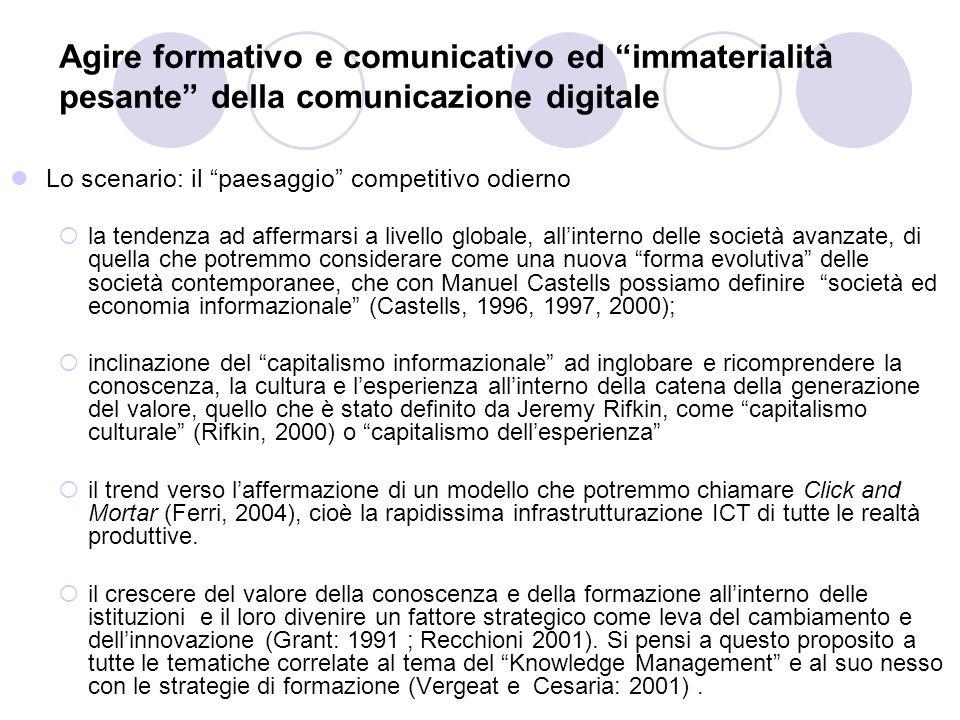 Agire formativo e comunicativo ed immaterialità pesante della comunicazione digitale