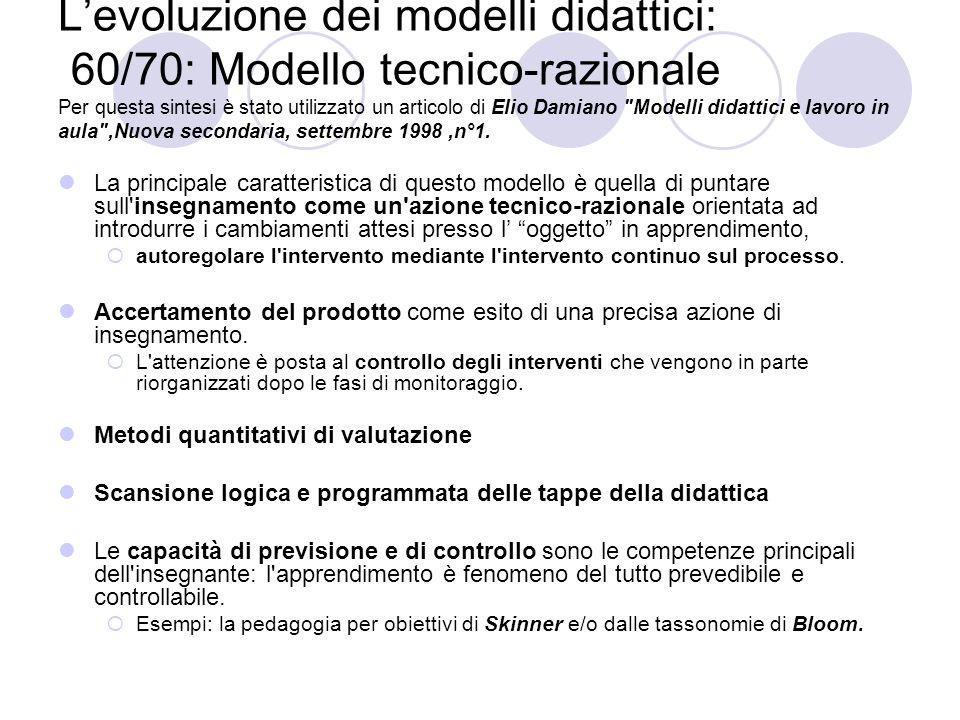 L'evoluzione dei modelli didattici: 60/70: Modello tecnico-razionale Per questa sintesi è stato utilizzato un articolo di Elio Damiano Modelli didattici e lavoro in aula ,Nuova secondaria, settembre 1998 ,n°1.