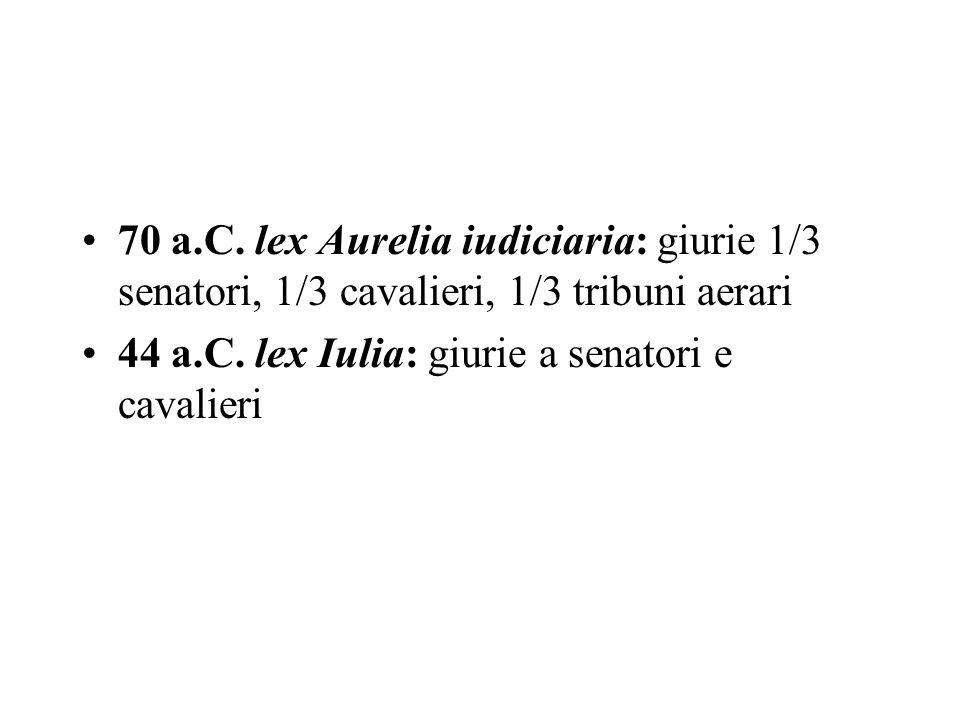 70 a.C. lex Aurelia iudiciaria: giurie 1/3 senatori, 1/3 cavalieri, 1/3 tribuni aerari