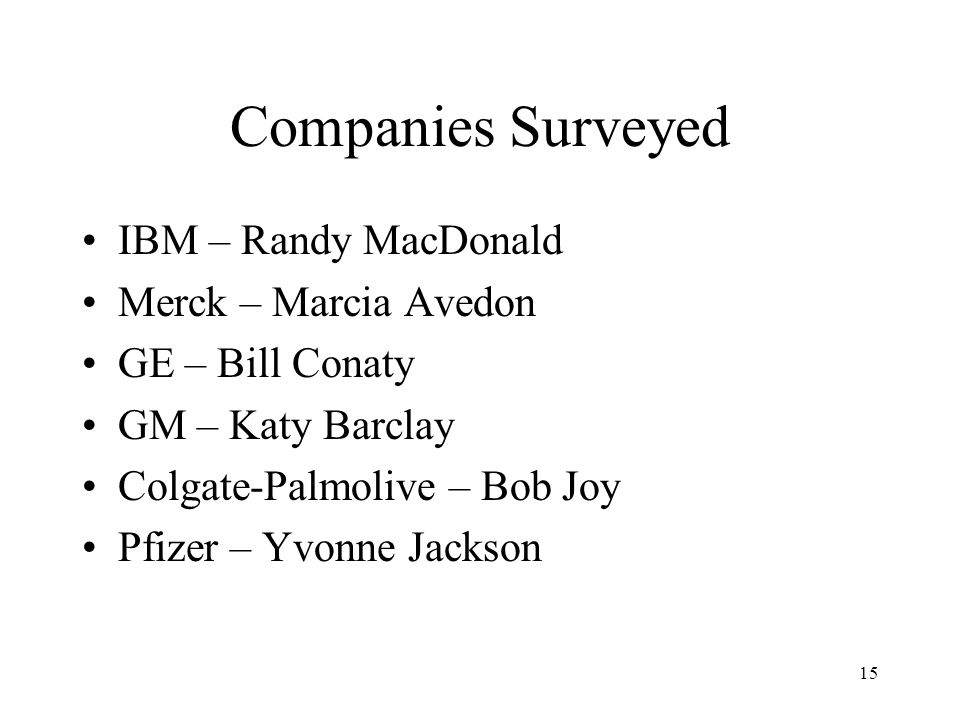 Companies Surveyed IBM – Randy MacDonald Merck – Marcia Avedon