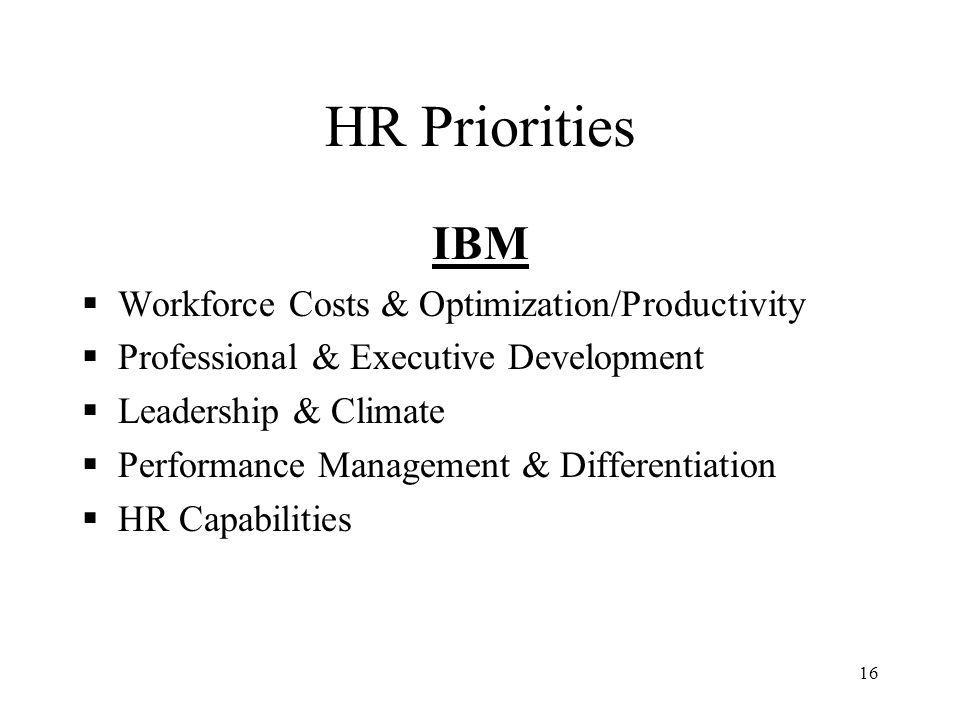 HR Priorities IBM Workforce Costs & Optimization/Productivity