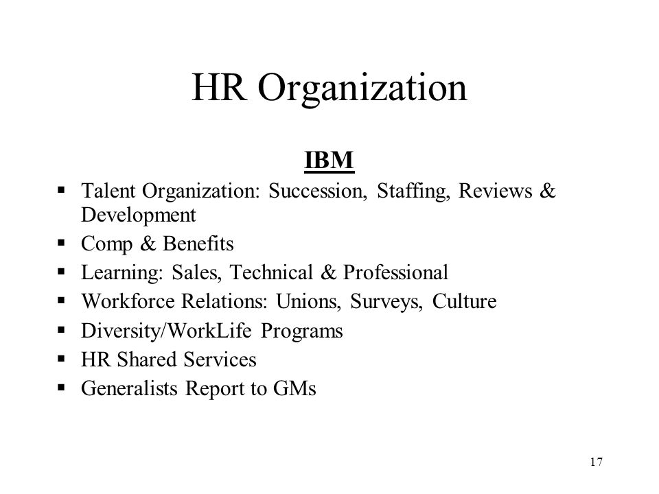 HR Organization IBM. Talent Organization: Succession, Staffing, Reviews & Development. Comp & Benefits.
